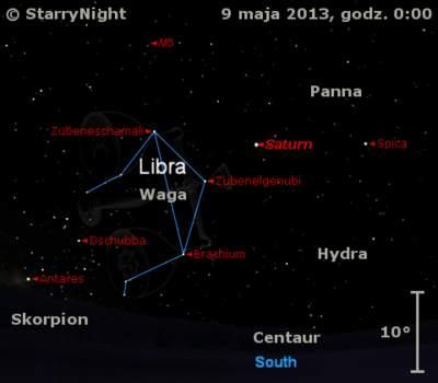 Położenie Saturna wdrugim tygodniu maja 2013 r.