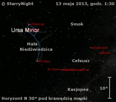 Położenie Księżyca ikomety C/2011 L4 (PanSTARRS) wtrzecim tygodniu maja 2013