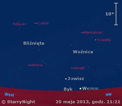 Położenie Jowisza, Wenus i Merkurego w czwartym tygodniu maja 2013 r.