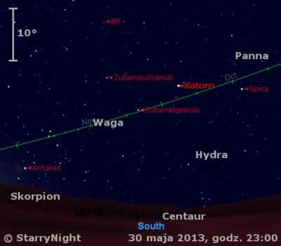 Położenie Saturna naprzełomie maja iczerwca 2013 r.