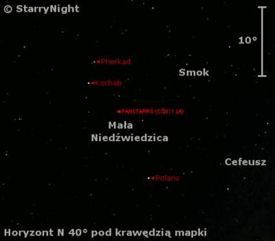 Położenie Księżyca i komety C/2011 L4 (PanSTARRS) w drugim tygodniu czerwca 2013