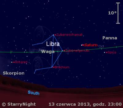Położenie Saturna w drugim tygodniu czerwca 2013 r.