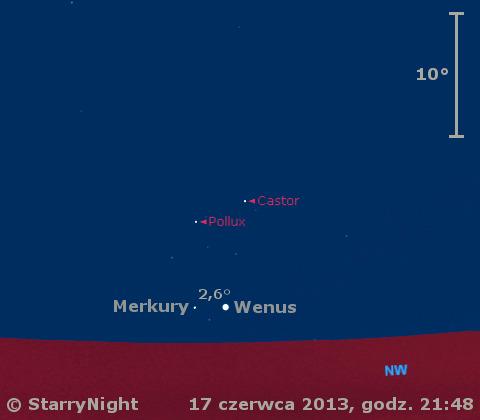 Położenie Saturna, Wenus i Merkurego w trzecim tygodniu czerwca 2013 r.