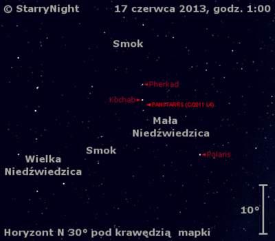 Położenie Księżyca i komety C/2011 L4 (PanSTARRS) w trzecim tygodniu czerwca 2013