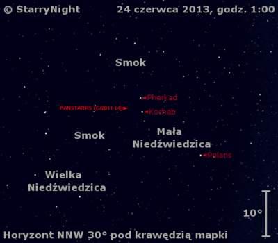 Położenie Księżyca ikomety C/2011 L4 (PanSTARRS) wostatnim tygodniu czerwca 2013 r.