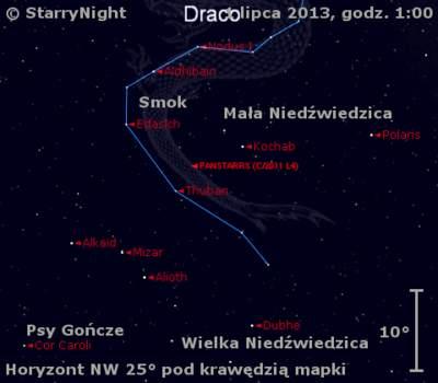 Położenie Księżyca ikomety C/2011 L4 (PanSTARRS) wpierwszym tygodniu lipca 2013 r.