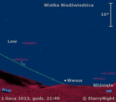 Położenie Wenus wpierwszym tygodniu lipca 2013 r.