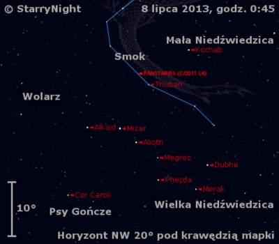 Położenie Księżyca ikomety C/2011 L4 (PanSTARRS) wdrugim tygodniu lipca 2013