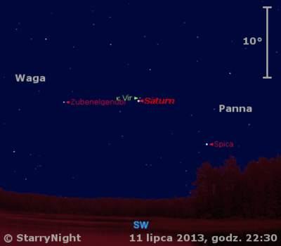Położenie Saturna wdrugim tygodniu lipca 2013 r.
