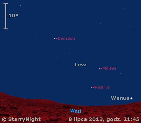 Położenie Wenus i Księżyca w drugim tygodniu lipca 2013 r.