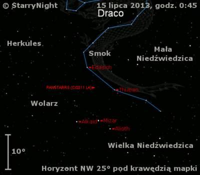 Położenie Księżyca i komety C/2011 L4 (PanSTARRS) w trzecim tygodniu lipca 2013