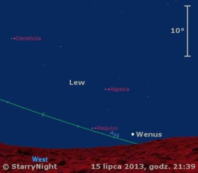 Położenie Wenus wtrzecim tygodniu lipca 2013 r.