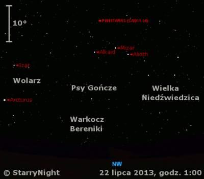 Położenie Księżyca i komety C/2011 L4 (PanSTARRS) w czwartym tygodniu lipca 2013