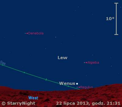 Położenie Wenus w czwartym tygodniu lipca 2013 r.
