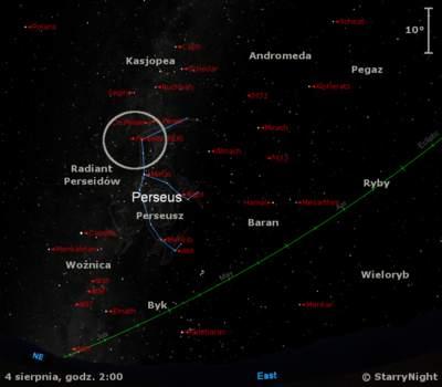 Położenie radiantu Perseidów naprzełomie lipca isierpnia 2013 r.