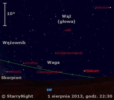 Położenie Saturna naprzełomie lipca isierpnia 2013 r.