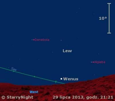 Położenie Wenus naprzełomie lipca isierpnia 2013 r.