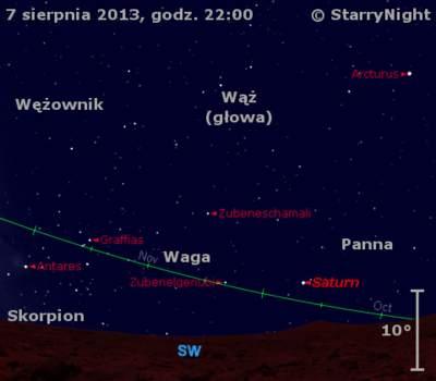 Położenie Saturna wdrugim tygodniu sierpnia 2013 r.