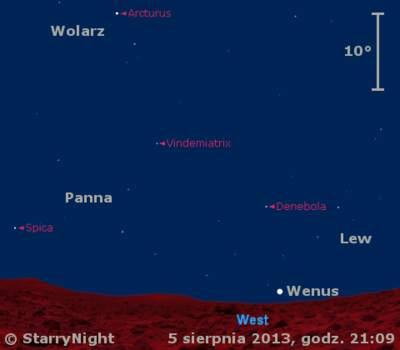 Położenie Wenus iKsiężyca wdrugim tygodniu sierpnia 2013 r.