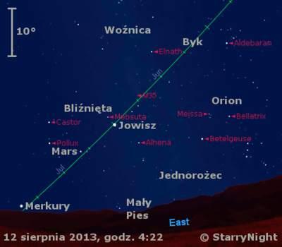 Położenie Jowisza, Marsa i Merkurego w trzecim tygodniu sierpnia 2013 r.