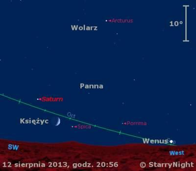 Położenie Księżyca, Wenus i Saturna w trzecim tygodniu sierpnia 2013 r.
