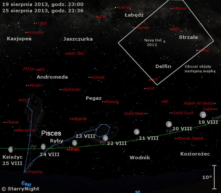 Położenie Księżyca i Urana czwartym tygodniu sierpnia 2013 r.