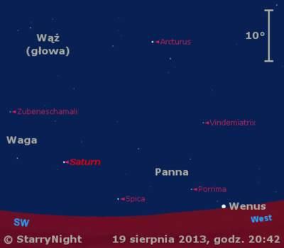 Położenie Księżyca, Wenus i Saturna w czwartym tygodniu sierpnia 2013 r.