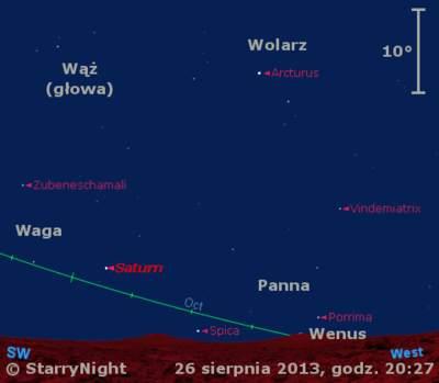 Położenie Wenus iSaturna wostatnim tygodniu sierpnia 2013 r.