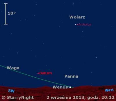 Położenie Wenus iSaturna wpierwszym tygodniu września 2013 r.