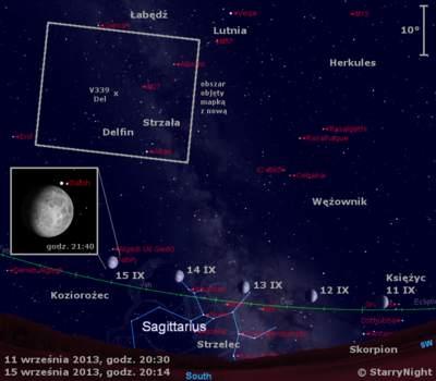 Położenie Księżyca wdrugim tygodniu września 2013 r.