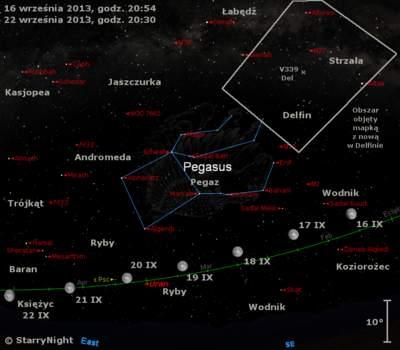 Położenie Księżyca , Urana iV339 Del wtrzecim tygodniu września 2013 r.