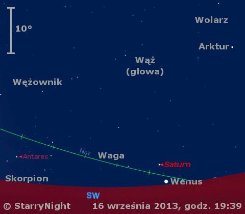 Położenie Wenus i Saturna w trzecim tygodniu września 2013 r.