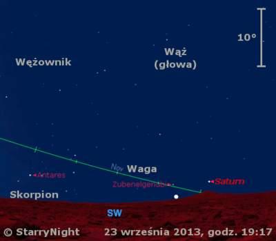 Położenie Wenus i Saturna w czwartym tygodniu wześnia 2013 r.