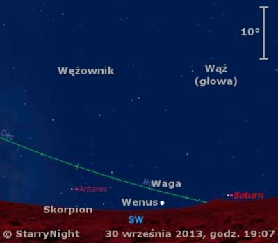 Położenie Wenus iSaturna wpierwszym tygodniu października 2013 r.