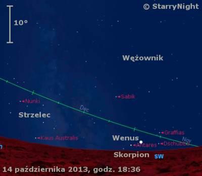 Położenie Wenus wtrzecim tygodniu października 2013 r.