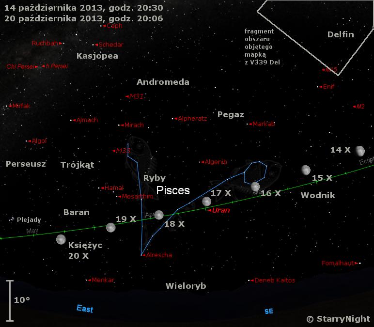 Położenie Księzyca, Urana i V339 Del w trzecim tygodniu października 2013 r.