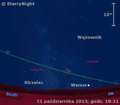 Położenie Wenus wczwartym tygodniu października 2013 r.