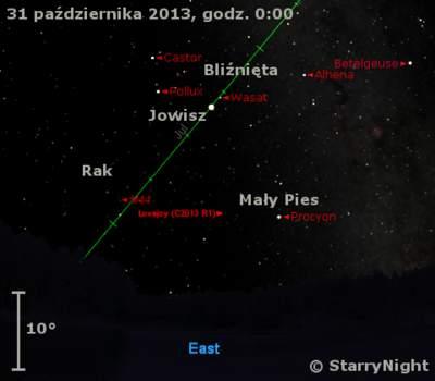Położenie Jowisza naprzełomie października ilistopada 2013 r.