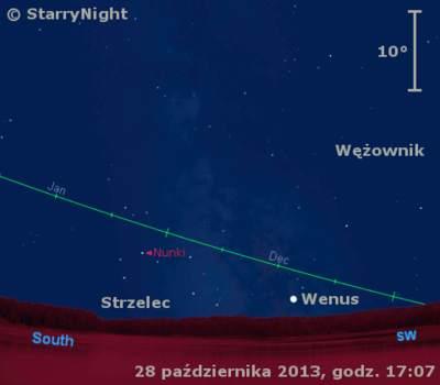 Położenie Wenus naprzełomie października ilistopada 2013 roku