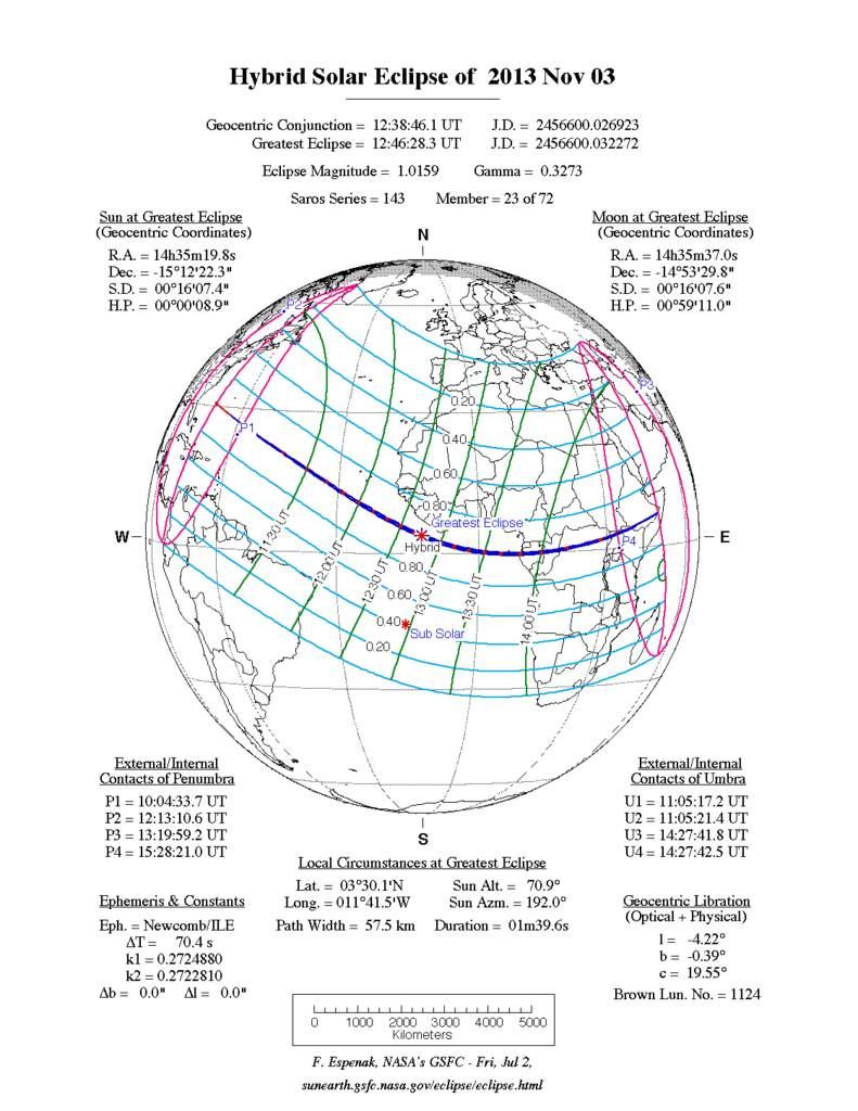 Zaćmienie Słońca, 3 listopada 2013, mapa świata