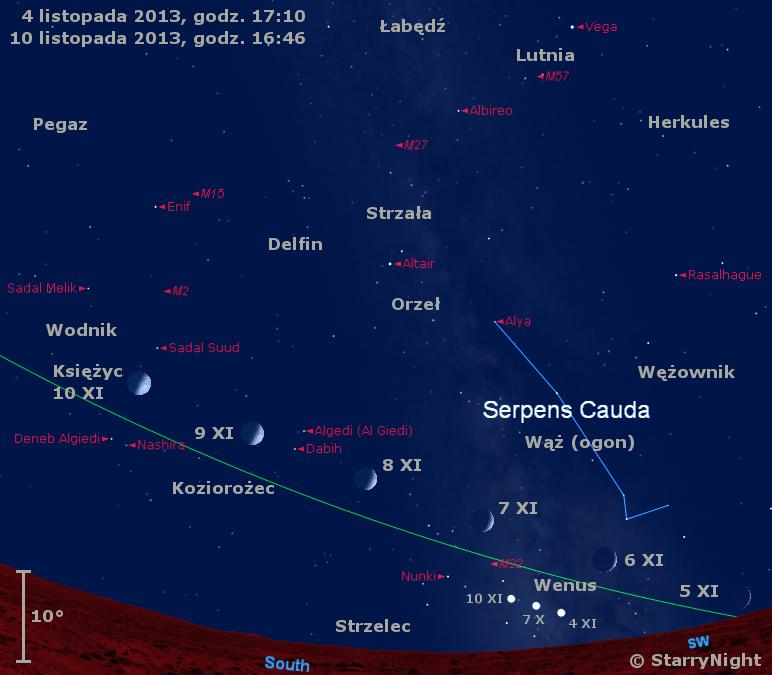Położenie Księżyca i Wenus w końcu pierwszej dekady listopada 2013 r.