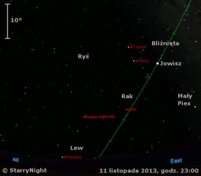 Położenie Jowisza ikomety C/2013 R1 (Lovejoy) napoczątku drugiej dekady listopada 2013 r.