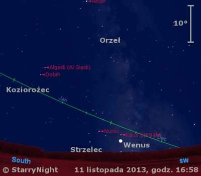 Położenie Wenus napoczątku drugiej dekady listopada 2013 r.