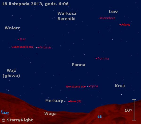 Położenie trzech komet i trzech planet w trzecim tygodniu listopada 2013 r.