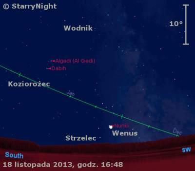 Położenie Wenus w trzecim tygodniu listopada 2013 r.