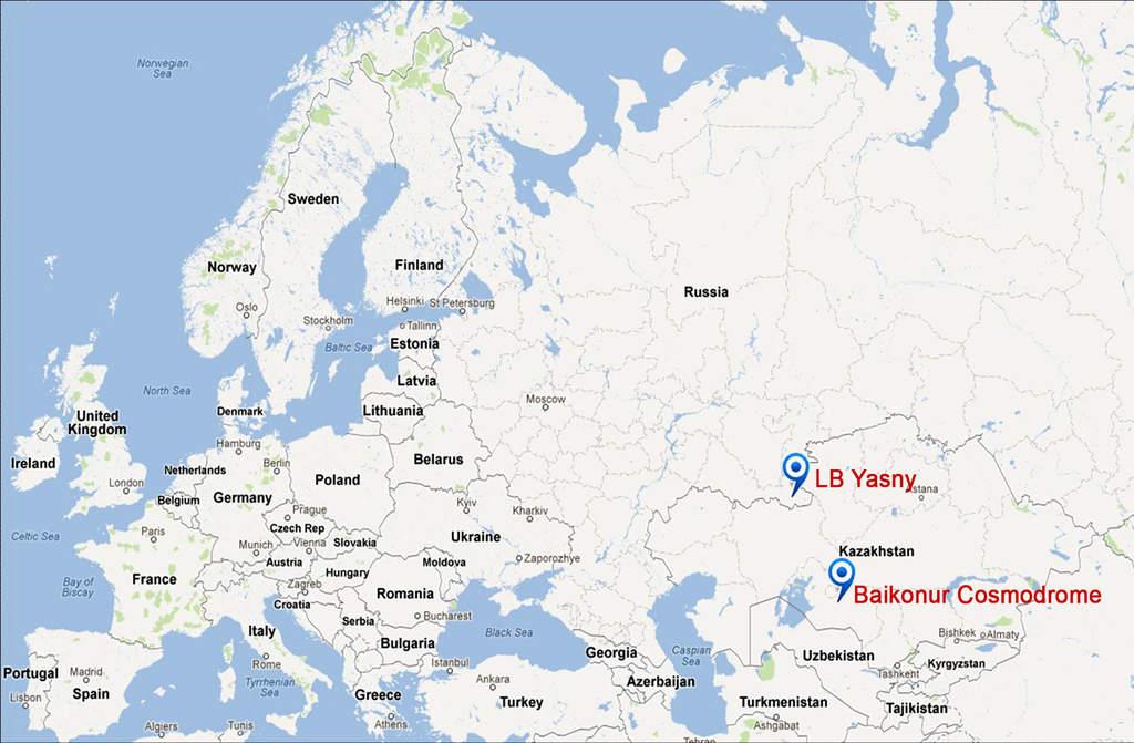 Położenie kosmodromu Jasny na mapie zachodniej Eurazji
