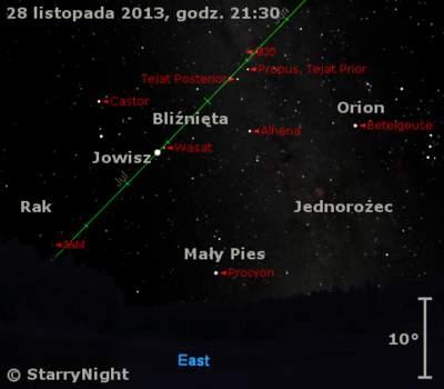 Położenie Jowisza w ostatnim tygodniu listopada 2013 r.