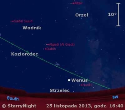 Położenie Wenus wostatnim tygodniu listopada 2013 r.