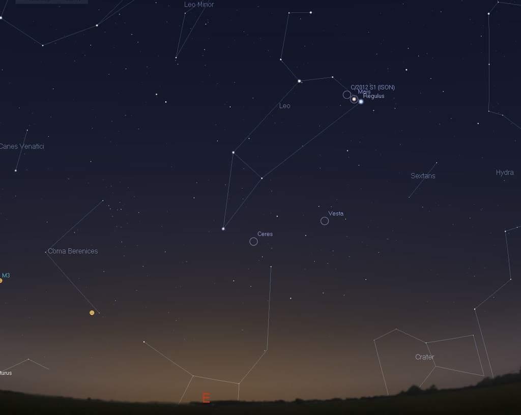 Kometa ISON w Stellarium