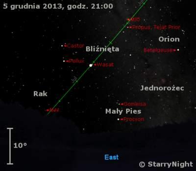 Położenie Jowisza wpierwszym tygodniu grudnia 2013 r.